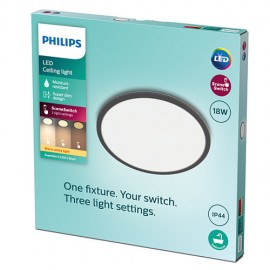 Philips CL550 8719514327283 Superslim stropné svietidlo LED D300mm 18W 1500lm 2700K IP44 čierna SceneSwitch
