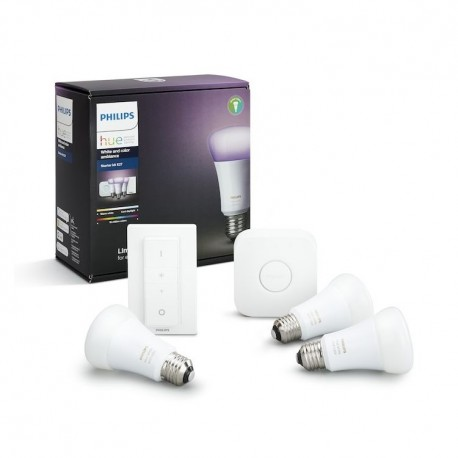 Set Philips Hue White and Color Ambiance 10W E27 A19 Starter kit + switch